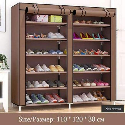 Planet Gates HH341900CS7 / China Large Capacity Shoes Storage Cabinet Double Rows Shoes Organizer Rack Home Furniture DIY Dust-proof Shoes Shelves Space Saver