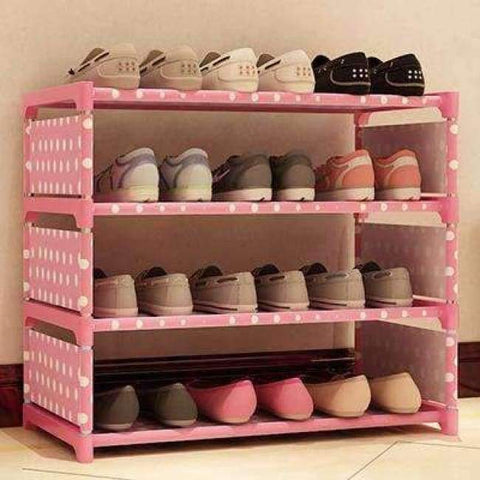 Planet Gates HH342700CS2 / China Four Layers Non-woven Cloth Simple Shoe Rack Multi-purpose Shoe Cabinet Books Shelf Toy Plants Storage Shelf Organizer Furniture