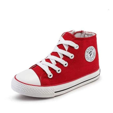Image of Planet Gates High Top Red / 6 Classic Children Canvas Shoes Girls Boys Kids Sneakers 2018 Fashion Casual Baby Running Shoes Solid Color Child Sport Shoes