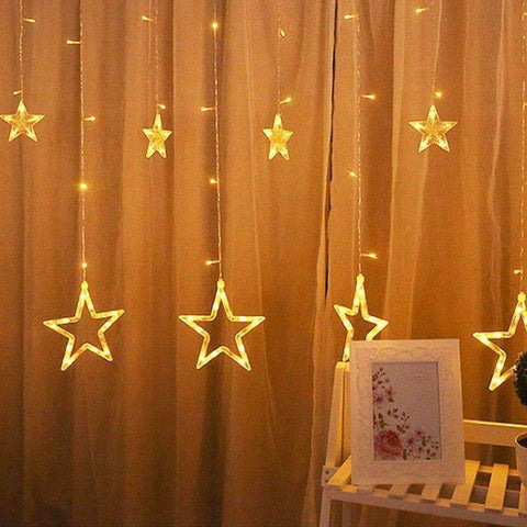 Image of Planet Gates Holiday Lighting LED Fairy Star Curtain String Luminarias Garland Decoration Christmas Wedding Pentagram String Light