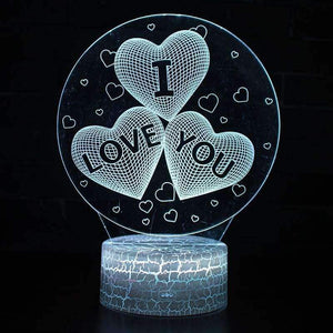 Hot Sale Christmas and Valentine's Gift Love 3D Illusion LED Table Night Light