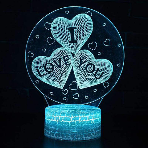 Planet Gates Hot Sale Christmas and Valentine's Gift Love 3D Illusion LED Table Night Light
