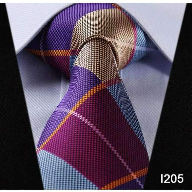 Classic Checks Purple Silver JACQUARD WOVEN 100/% Silk Men/'s Tie Necktie Hot