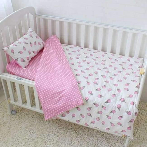 Image of Baby Bedding Set Cotton Soft Breathable Crib Kit Include Duvet Cover Pillowcase Bed Sheet No Filler Custom Made Letter Bumper