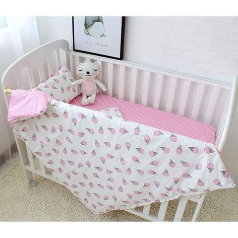 Image of Planet Gates Ice Cream 3Pcs Baby Bedding Set Cotton Soft Breathable Crib Kit Include Duvet Cover Pillowcase Bed Sheet No Filler Custom Made Letter Bumper