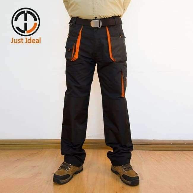Mens Cargo Pants Canvas Hard Wearing Work Trousers Multi Pocket