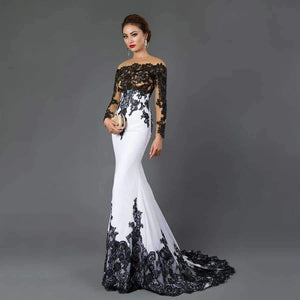 3c9c65bd7e6 Planet Gates Ivory   2 Long Sleeve Mermaid Evening Dresses Appliques black lace  sweep train formal ...
