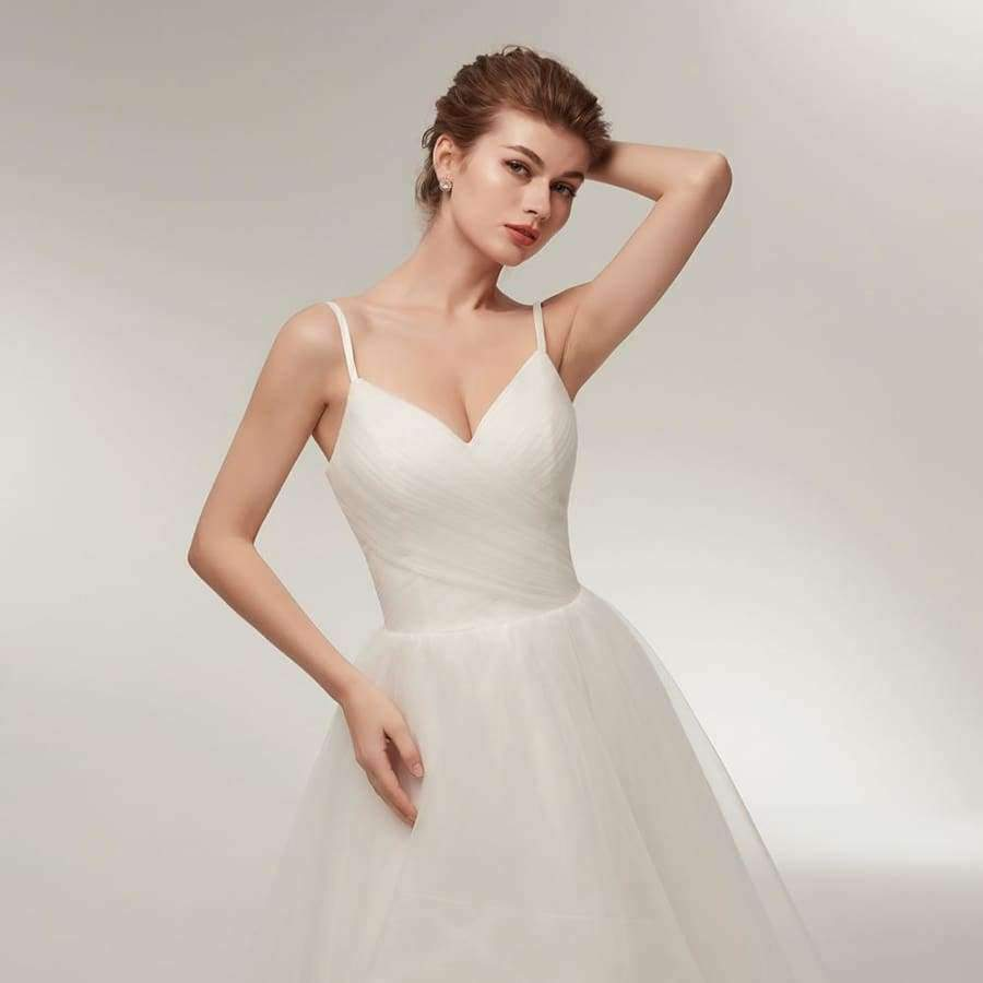 Wedding Dress Short Front Long Back Spaghetti Straps V Neckline