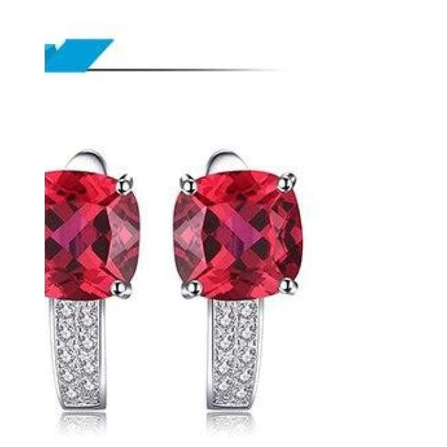 9abe5270f5144 JewelryPalace Cushion 4.6ct Created Red Ruby clip earrings 925 Sterling  Silver Earring Fine Jewelry for Fashion gift for Women