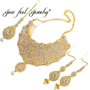 71fa4d8c48 Planet Gates JUST FEEL New India Dubai Gold Color Jewelry Sets Big Choker Necklace  Earrings Rings ...