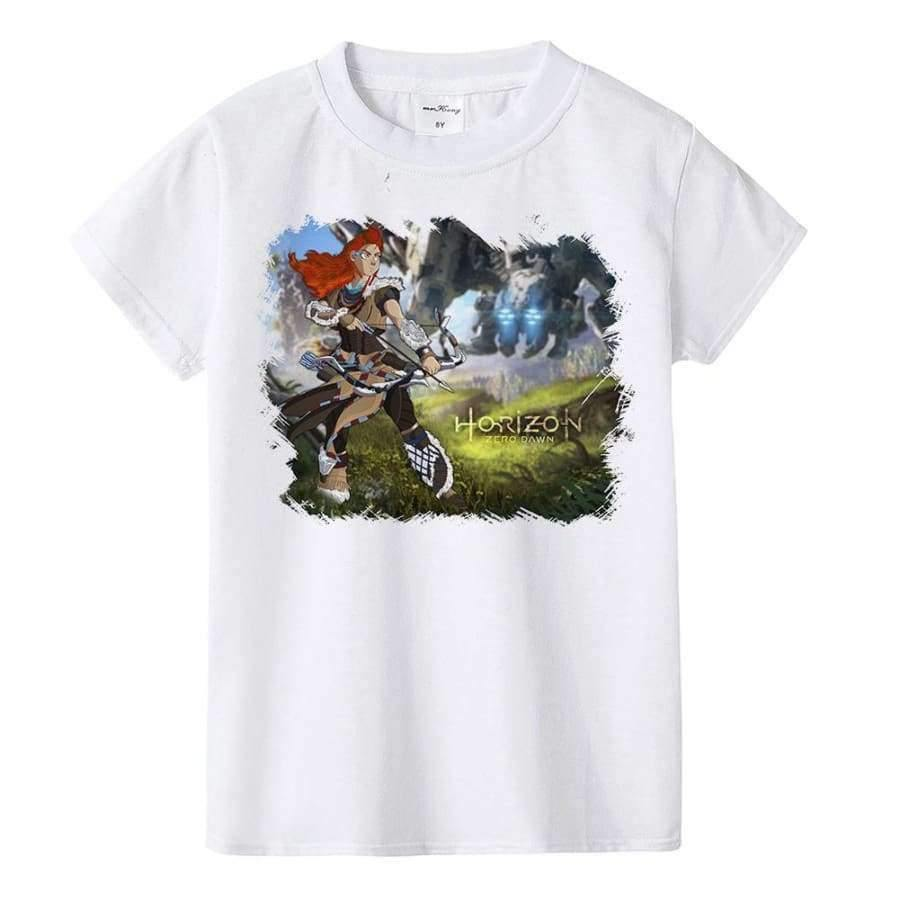 Planet Gates K901-KSTWH- / 10T Kids T Shirt Machine and Aloy Children T-shirt Boys Girls Tshirt Teens Game Tops Tees Teenage Boys Clothing