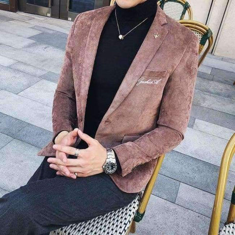 Planet Gates Khaki / M Corduroy Blazer Men Slim Fit Green Khaki Grey 2018 Male Blazer Suit Jacket Gold Embroidery Terno Masculino Korean Men Blazer