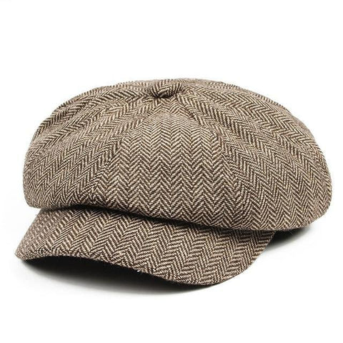 Image of Planet Gates Khaki Men's Panel Tweed Newsboy Caps Format fitting Driving Hat Khaki Gray