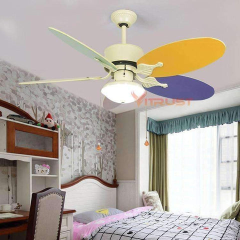 Image of Planet Gates Knob Switch 12W Lamp / 110V Cute Child Ceiling Fan Lamp Modern Kids Ceiling Fans With Lights for Kid Bedroom Living Room Ceiling Light