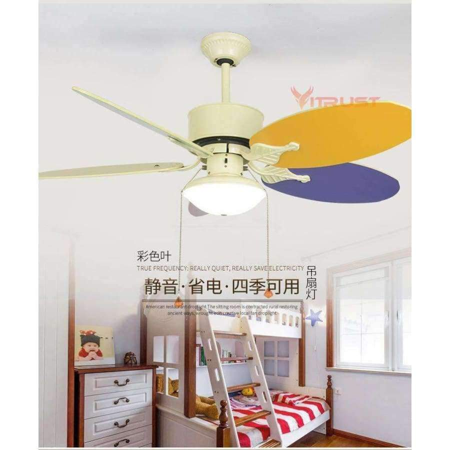 Planet Gates Knob Switch 12W Lamp / 110V Cute Child Ceiling Fan Lamp Modern Kids Ceiling Fans With Lights for Kid Bedroom Living Room Ceiling Light