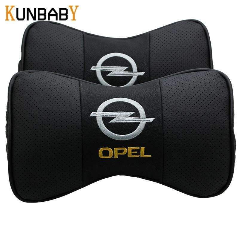 Planet Gates KUNBABY 2PCS Car Styling Leather  Car Neck Pillow Car Headrest Neck Support Pillow Seat Emblem Cushion For Opel Car Accessories