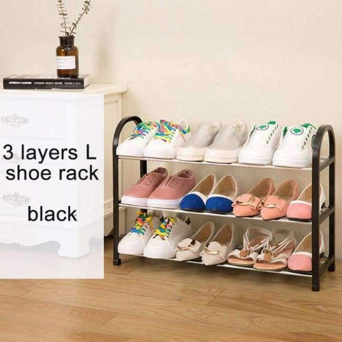 Planet Gates L 3layers black Multiple layers Shoe Rack Plastic parts Steel Pipe Shoes Shelf Easy Assembled Storage Organizer Stand Living Room Furniture