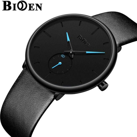 Planet Gates leather black Men's watches simple  brand men wristwatch quartz leather man watch waterproof mens clocks black brown