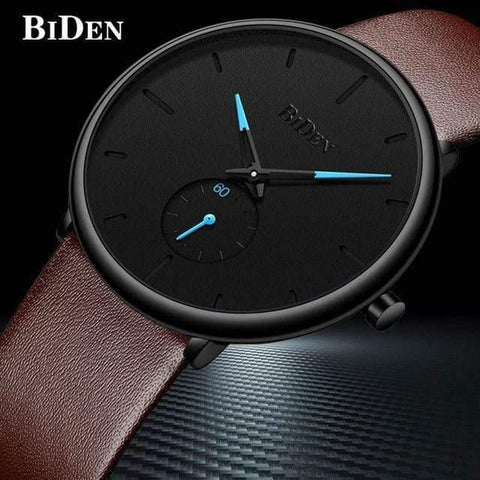 Planet Gates leather brown Men's watches simple  brand men wristwatch quartz leather man watch waterproof mens clocks black brown