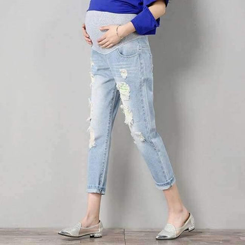 Image of Planet Gates light blue / M Maternity Jeans Maternity Pants Clothes For Pregnant Women Trousers Nursing Prop Belly Leggings Jeans Pregnancy Clothing Pants
