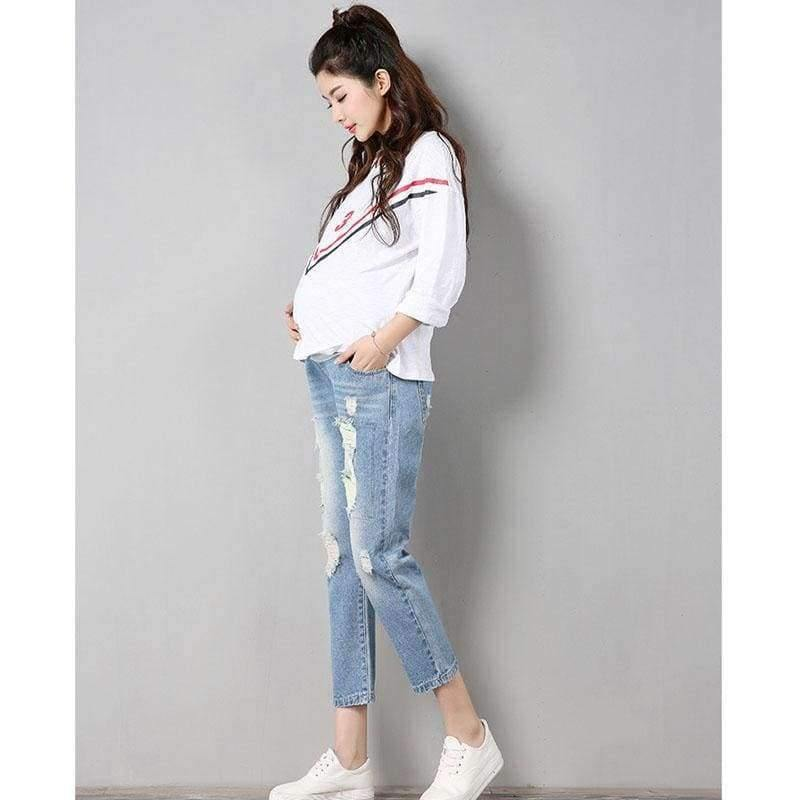 Planet Gates light blue / M Maternity Jeans Maternity Pants Clothes For Pregnant Women Trousers Nursing Prop Belly Leggings Jeans Pregnancy Clothing Pants