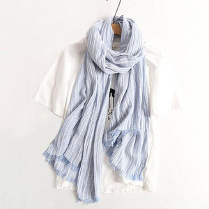 Winter Scarf Women and Men Striped Cotton Linen Scarfs Vintage Oversized Shawls and Scarves