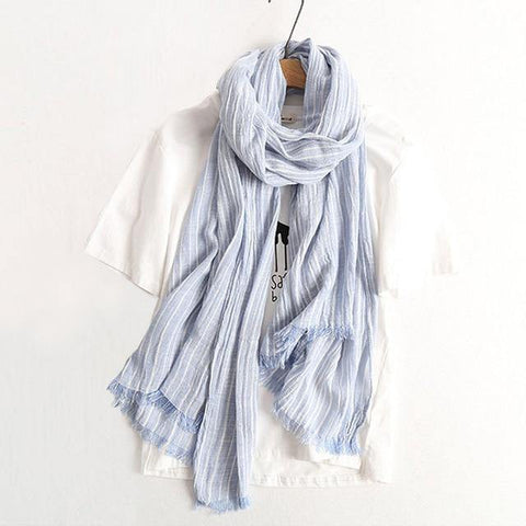 Planet Gates light blue Winter Scarf Women and Men Striped Cotton Linen Scarfs Vintage Oversized Shawls and Scarves