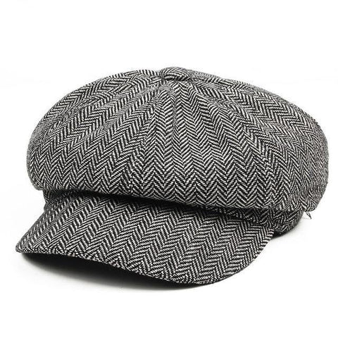 Image of Planet Gates light gray Men's Panel Tweed Newsboy Caps Format fitting Driving Hat Khaki Gray
