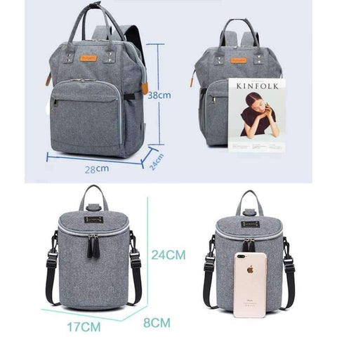 Image of Planet Gates Light grey Diaper Bag and Insulation Bags Fashion Maternity Mummy Backpack Nappy Changing Organizer Waterproof Baby Care Bags