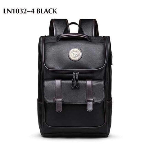 Planet Gates LN1032-4 Black LIELANG Men Backpack External USB Charge Waterproof  Backpack Fashion PU Leather Travel Bag Casual School Bag For Teenagers