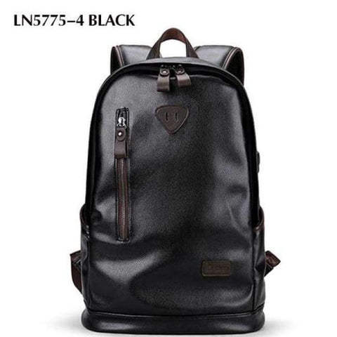 Planet Gates LN5775-4 Black LIELANG Men Backpack External USB Charge Waterproof  Backpack Fashion PU Leather Travel Bag Casual School Bag For Teenagers