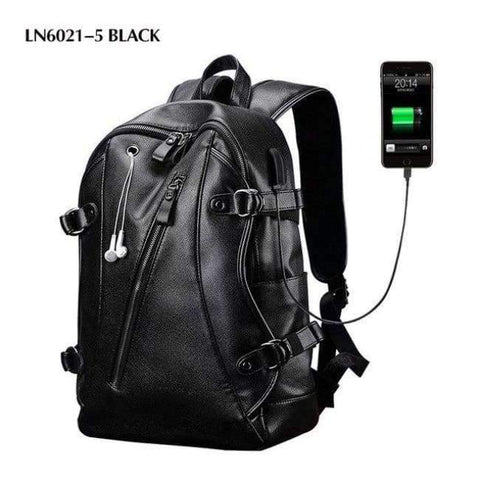 Planet Gates LN6021-5 Black LIELANG Men Backpack External USB Charge Waterproof  Backpack Fashion PU Leather Travel Bag Casual School Bag For Teenagers