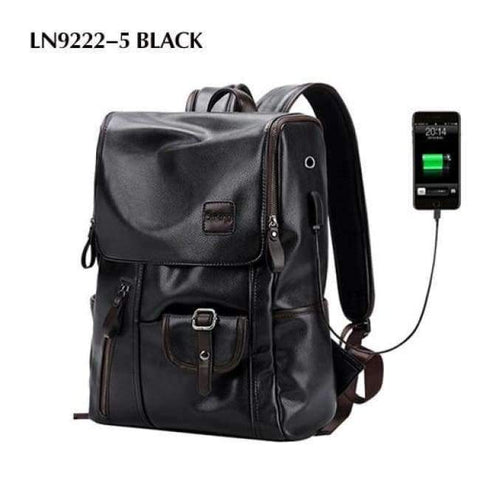 Planet Gates LN9222-5 Black LIELANG Men Backpack External USB Charge Waterproof  Backpack Fashion PU Leather Travel Bag Casual School Bag For Teenagers