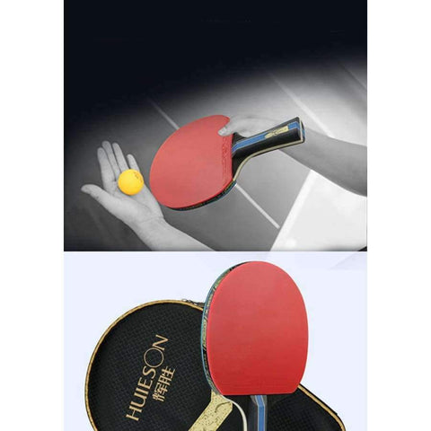 Planet Gates Long Handle Short or Long Handle Shake-hand Table Tennis Set Red and Black Table Tennis Paddle Table Tennis Racket with Case