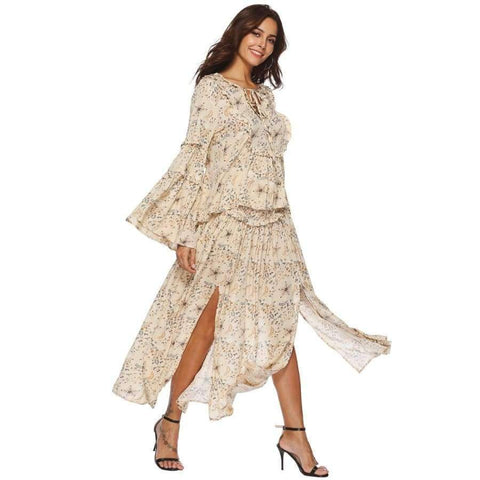 Planet Gates Long Sleeve Top / L Jastie Gypsy Collective Celestial Blouse V-Neck with Tie Oversized Flare Sleeve Women Shirt Top Boho Stars Print Blouses Blusa