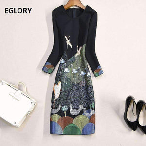 Autumn Bodycon Dress Women Cute Birds Embroidery 3/4 Sleeve Sheath Knee-Length Party Cocktail Lady Dress Event