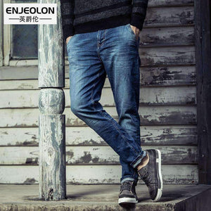 Planet Gates Mazarine / 29 Enjeolon brand 2017 top quality jeans men long full trousers clothing Slim solid blue jeans males Causal pencil Pants NZ025