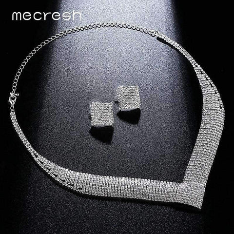 Planet Gates Mecresh Classic Crystal Wedding Jewelry Sets for Women Clear Geometric Rhinestone Necklace Set Bridal Engagement Jewelry MTL475
