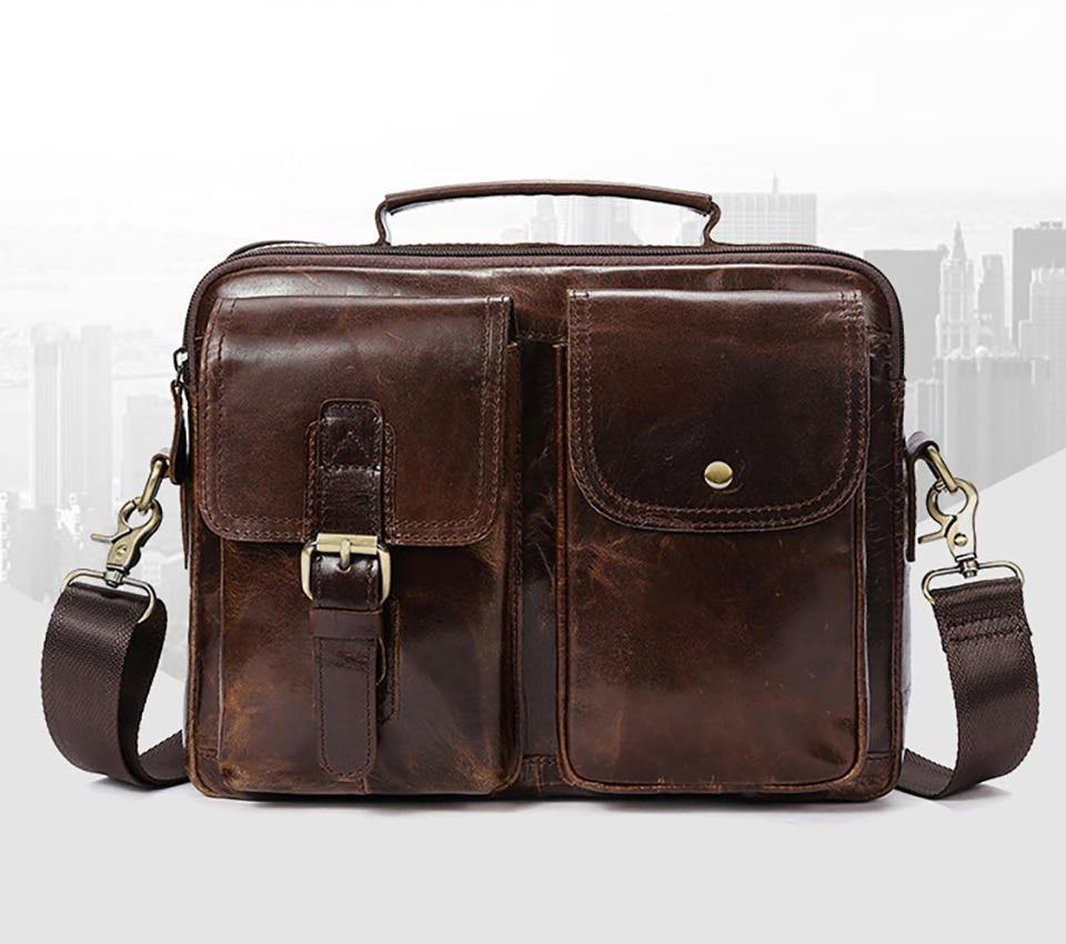 98c031416f5d Men Briefcases Genuine Leather Men's bags Crossbody Bags Casual Totes  Laptop messenger bag men's shoulder bag handbags