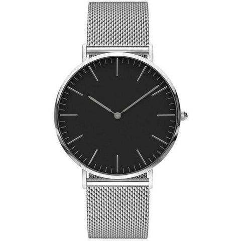 Image of Planet Gates Mesh silver black Mens Stainless Steel Bracelet Quartz Watch Fashion Rose Gold Silver Man Watch Style Men Dress Watch 40mm