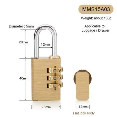 Planet Gates MMS15A03 New Lock High Quality Solid Copper Dial Digit Code Password Combination Padlock Security Travel Safe Locks Furniture Accessories