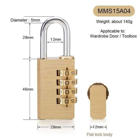 Planet Gates MMS15A04 New Lock High Quality Solid Copper Dial Digit Code Password Combination Padlock Security Travel Safe Locks Furniture Accessories