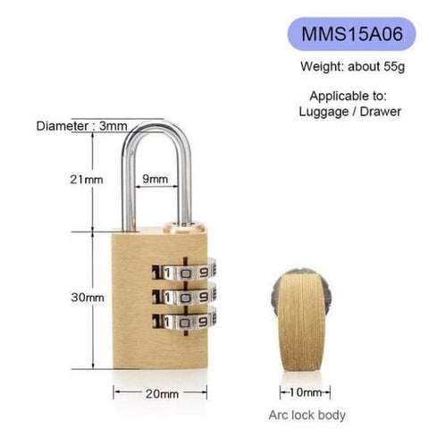 Planet Gates MMS15A06 New Lock High Quality Solid Copper Dial Digit Code Password Combination Padlock Security Travel Safe Locks Furniture Accessories