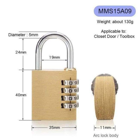 Planet Gates MMS15A09 New Lock High Quality Solid Copper Dial Digit Code Password Combination Padlock Security Travel Safe Locks Furniture Accessories