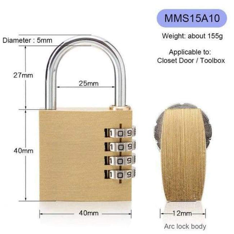 Planet Gates MMS15A10 New Lock High Quality Solid Copper Dial Digit Code Password Combination Padlock Security Travel Safe Locks Furniture Accessories