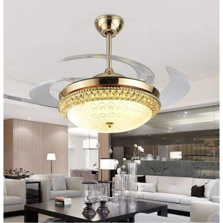 Planet Gates Modern LED Gold contemporary Folding Crystal Ceiling Fans With Lights Remote Control ventilador 85-265V free shipping