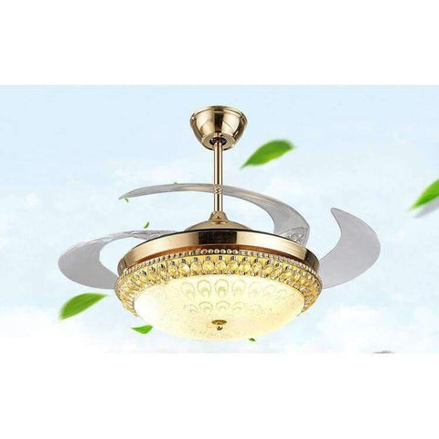 Image of Planet Gates Modern LED Gold contemporary Folding Crystal Ceiling Fans With Lights Remote Control ventilador 85-265V free shipping