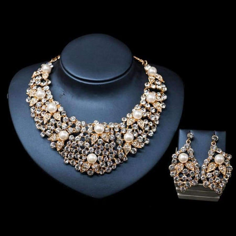 LAN PALACE new arrivals colorful necklace jewelry set simulated pearl necklace and earrings for wedding  free shipping