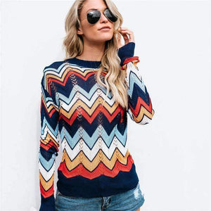 Autumn Winter Women Colorful Striped Sweater 2018 Casual Long Sleeve O-neck Knitted Pullovers Female Tricot Knitwear