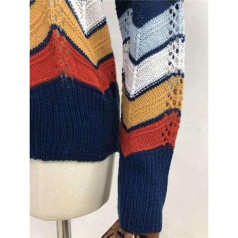 Planet Gates Multi / S Autumn Winter Women Colorful Striped Sweater 2018 Casual Long Sleeve O-neck Knitted Pullovers Female Tricot Knitwear